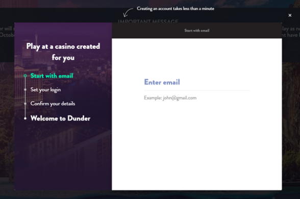 Dunder Casino Registration